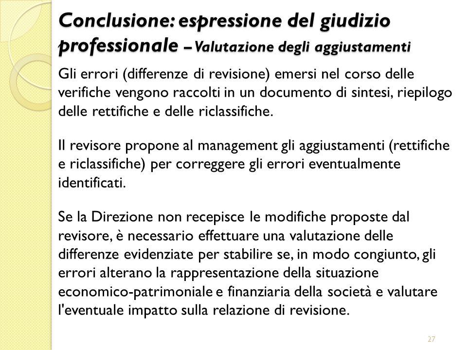 Conclusione: espressione del giudizio professionale – Valutazione degli aggiustamenti