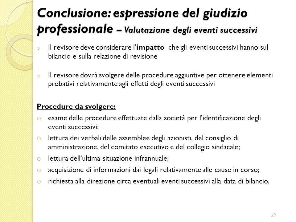 Conclusione: espressione del giudizio professionale – Valutazione degli eventi successivi