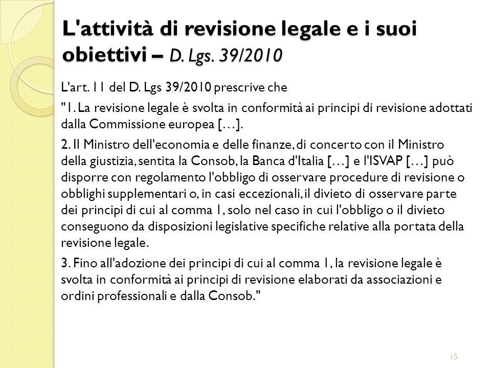L attività di revisione legale e i suoi obiettivi – D. Lgs. 39/2010