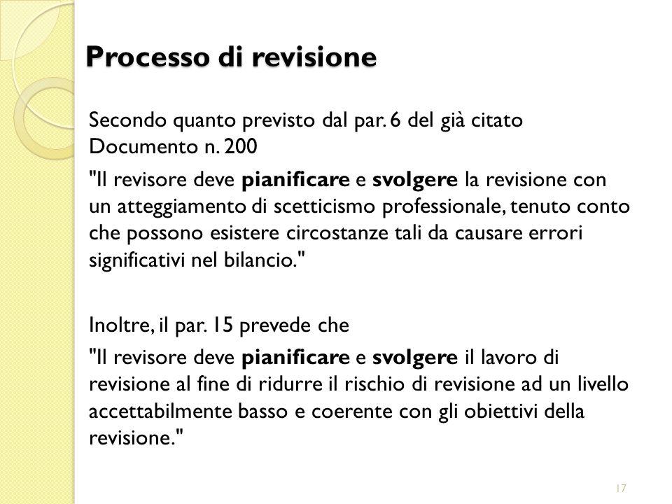 29/03/2017 Processo di revisione. Secondo quanto previsto dal par. 6 del già citato Documento n. 200.