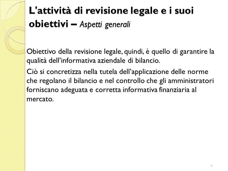 L attività di revisione legale e i suoi obiettivi – Aspetti generali