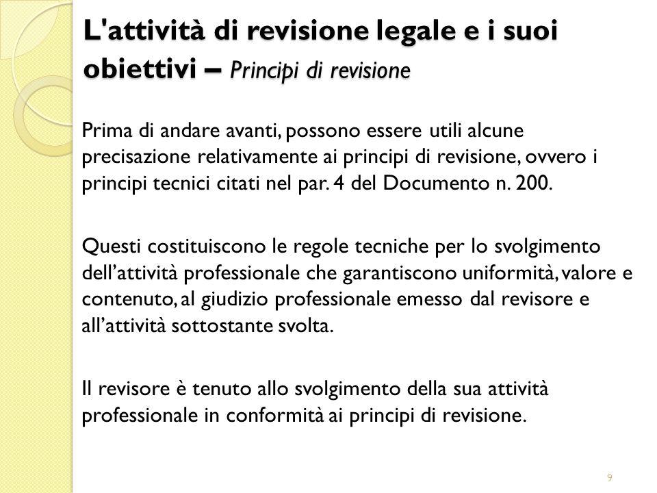 29/03/2017 L attività di revisione legale e i suoi obiettivi – Principi di revisione.