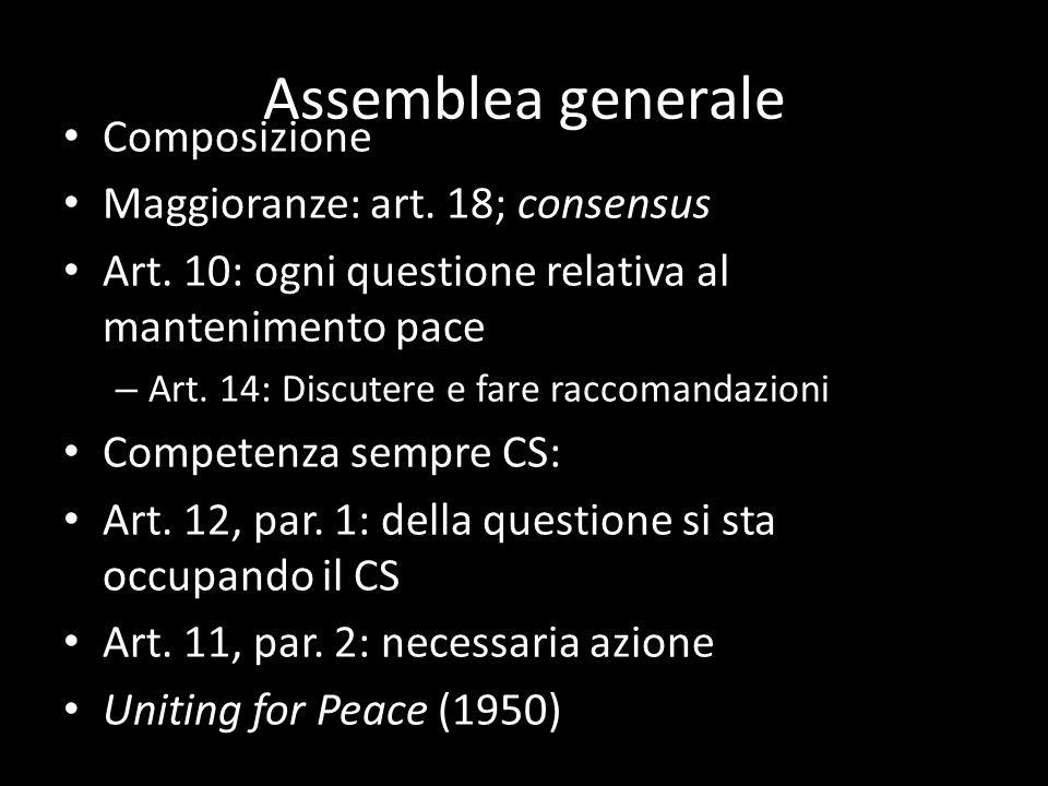 Assemblea generale Composizione Maggioranze: art. 18; consensus