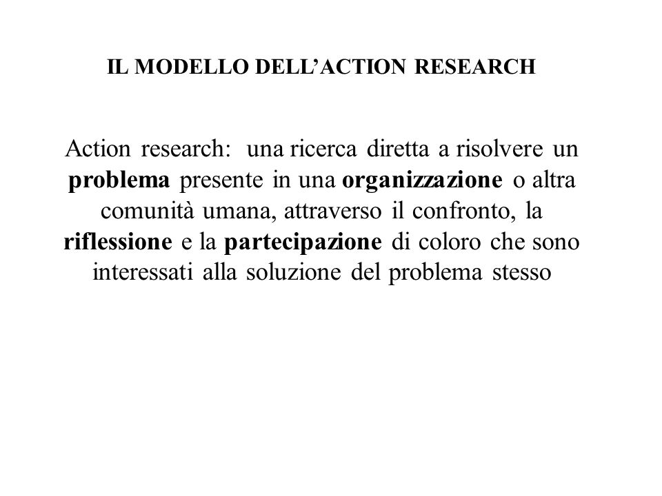 IL MODELLO DELL'ACTION RESEARCH