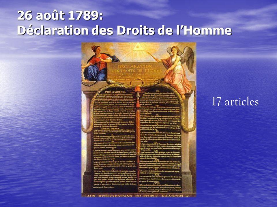 26 août 1789: Déclaration des Droits de l'Homme