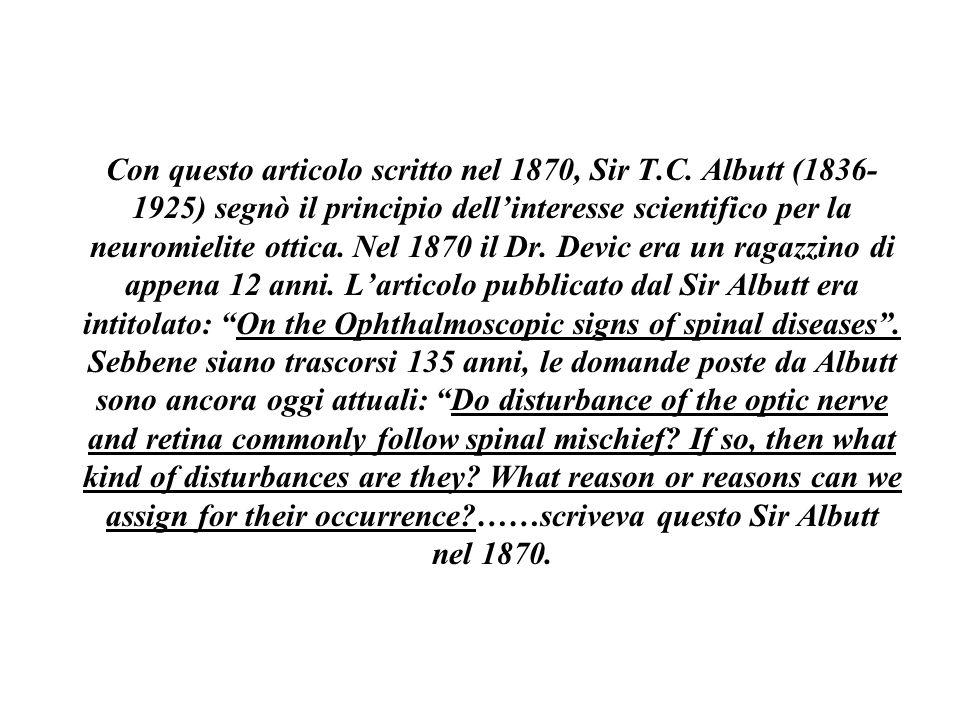 Con questo articolo scritto nel 1870, Sir T. C