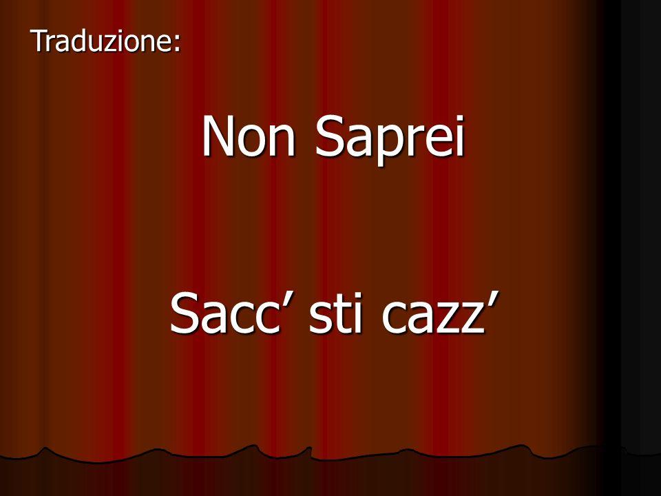 Traduzione: Non Saprei Sacc' sti cazz'