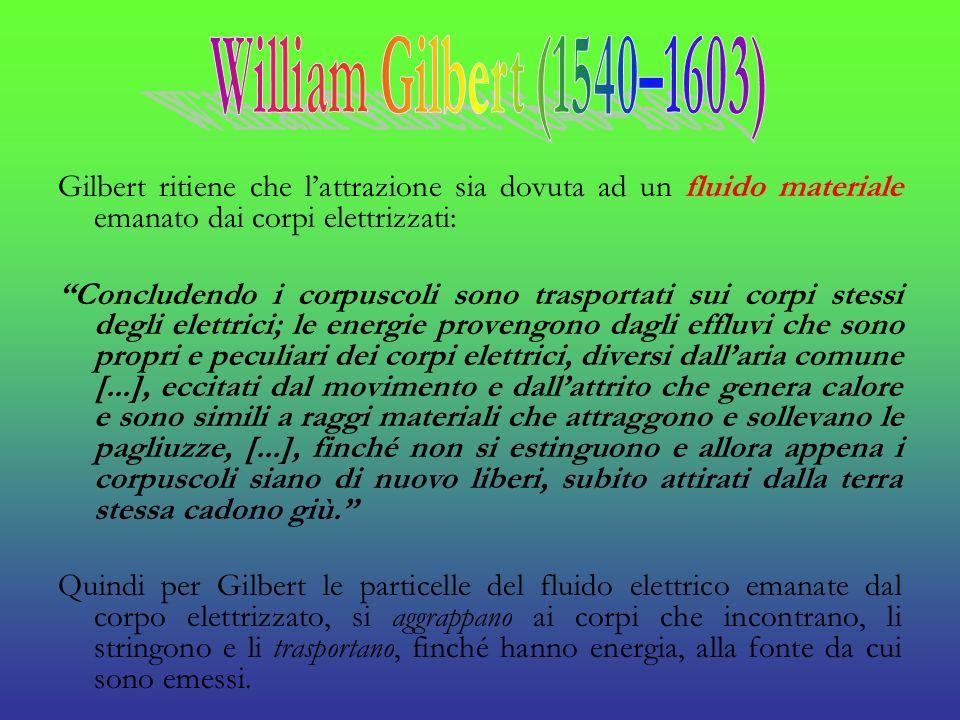 William Gilbert (1540–1603) Gilbert ritiene che l'attrazione sia dovuta ad un fluido materiale emanato dai corpi elettrizzati: