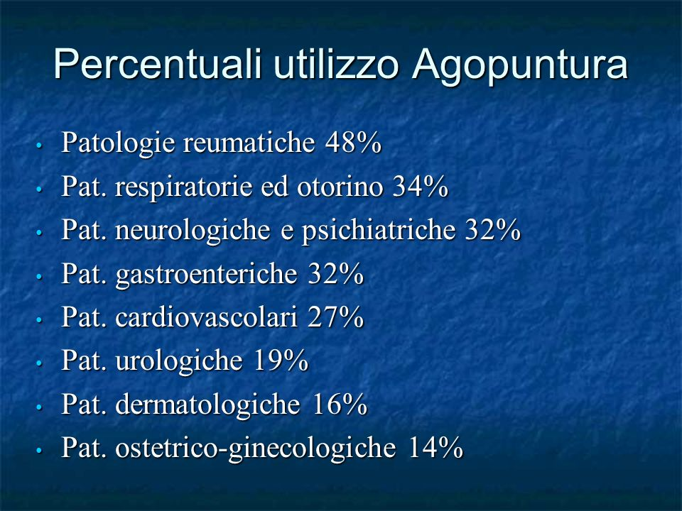 Percentuali utilizzo Agopuntura