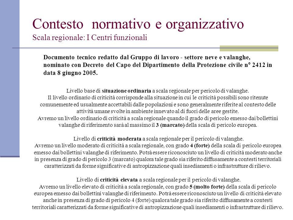 Contesto normativo e organizzativo Scala regionale: I Centri funzionali
