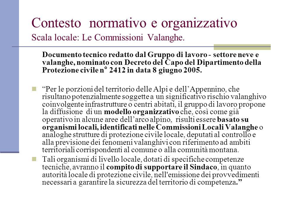 Contesto normativo e organizzativo Scala locale: Le Commissioni Valanghe.