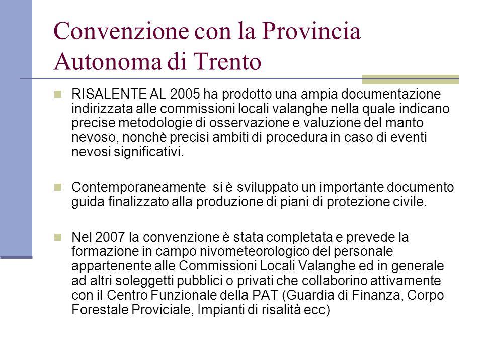Convenzione con la Provincia Autonoma di Trento