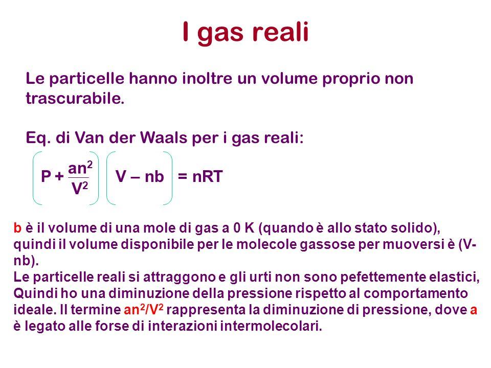 I gas reali Le particelle hanno inoltre un volume proprio non trascurabile. Eq. di Van der Waals per i gas reali: