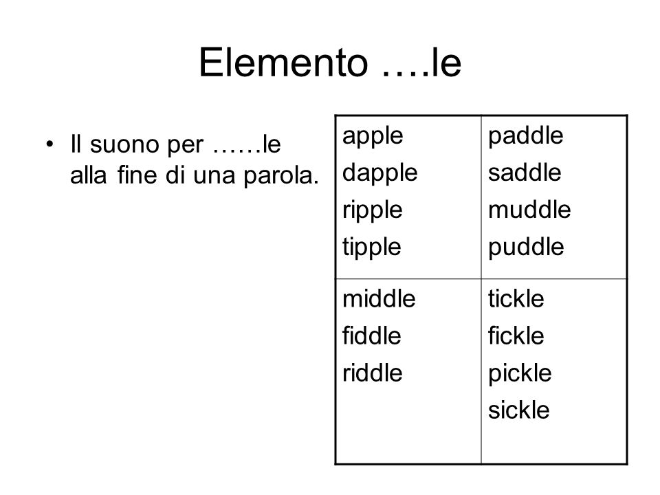 Elemento ….le apple dapple ripple tipple paddle saddle muddle puddle