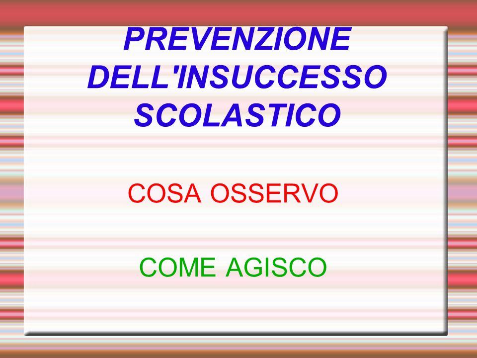 PREVENZIONE DELL INSUCCESSO SCOLASTICO