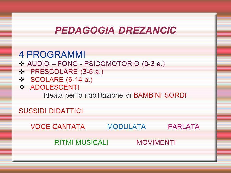 PEDAGOGIA DREZANCIC 4 PROGRAMMI AUDIO – FONO - PSICOMOTORIO (0-3 a.)