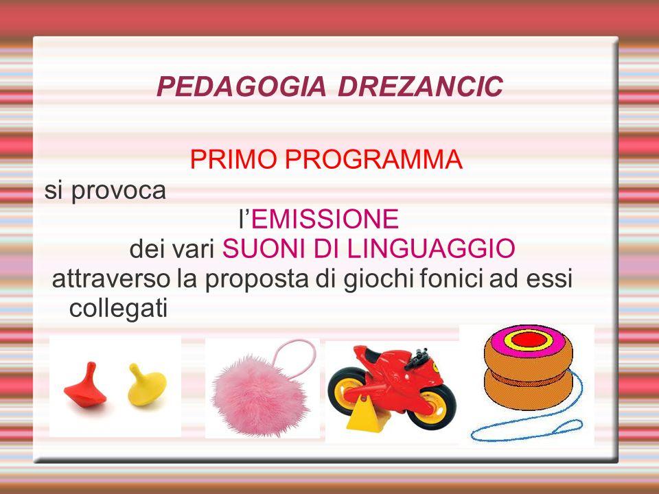 PEDAGOGIA DREZANCICPRIMO PROGRAMMA si provoca l'EMISSIONE dei vari SUONI DI LINGUAGGIO attraverso la proposta di giochi fonici ad essi collegati