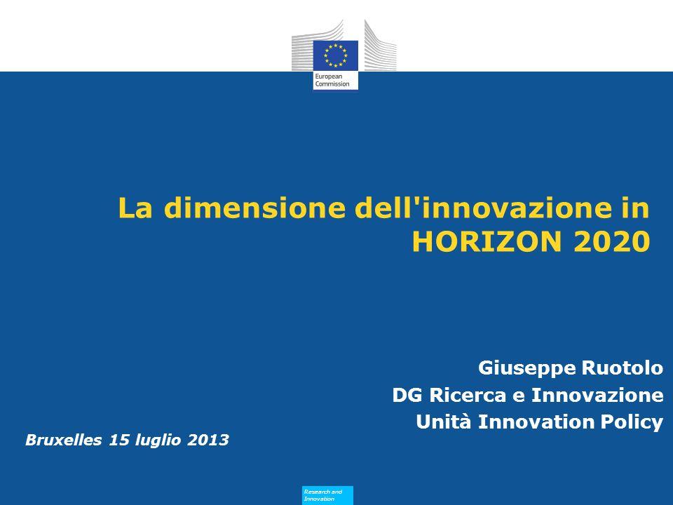 La dimensione dell innovazione in HORIZON 2020