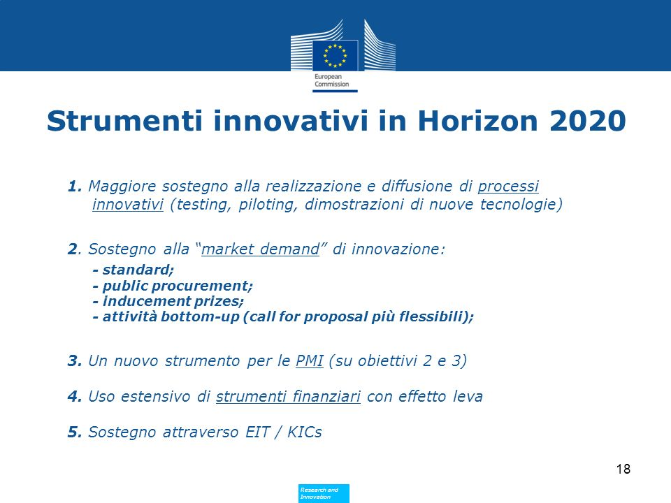 Strumenti innovativi in Horizon 2020