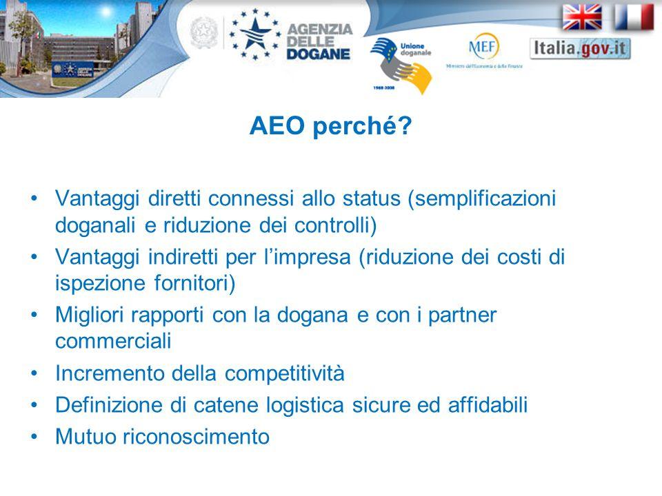AEO perché Vantaggi diretti connessi allo status (semplificazioni doganali e riduzione dei controlli)