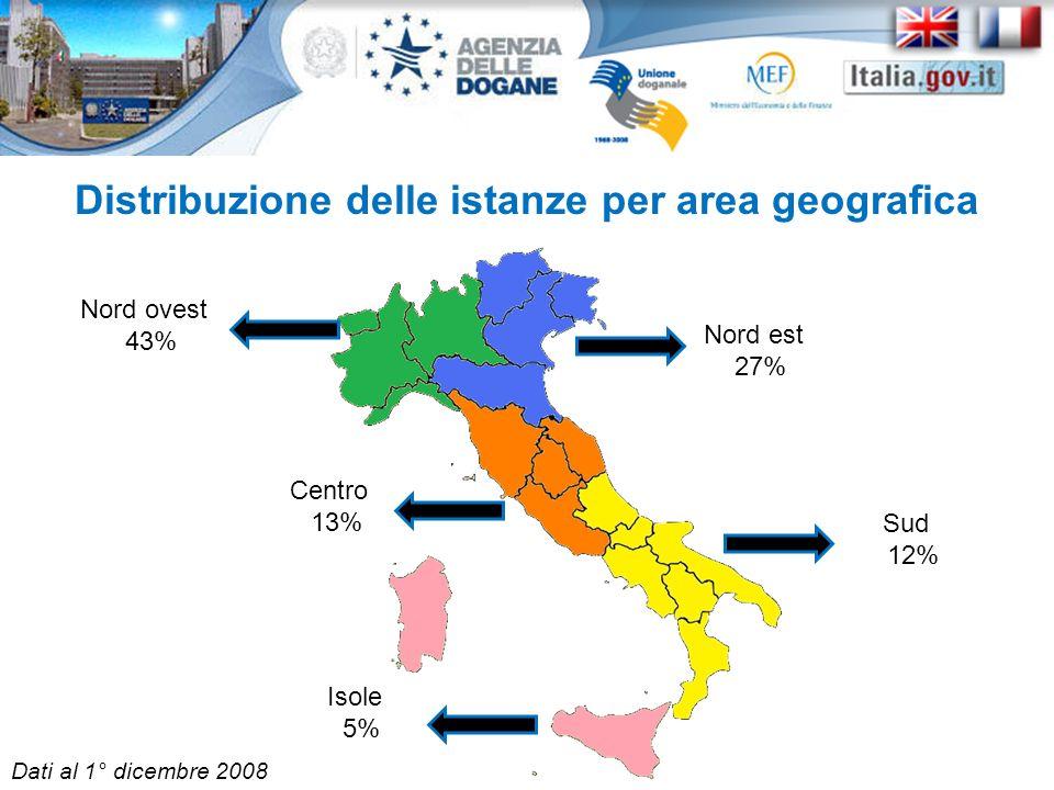 Distribuzione delle istanze per area geografica