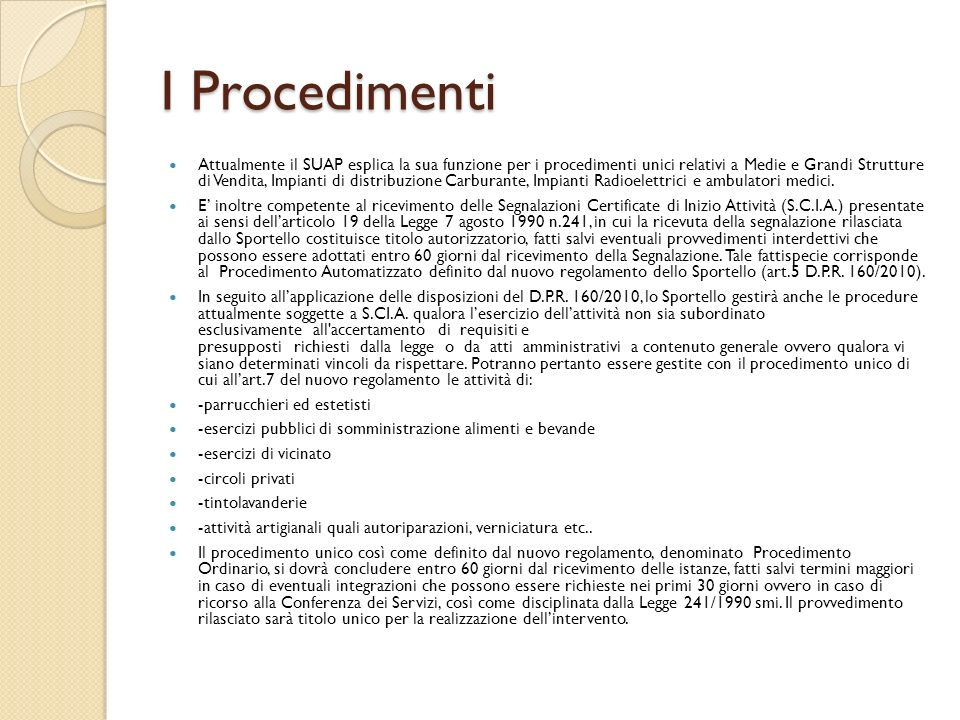I Procedimenti