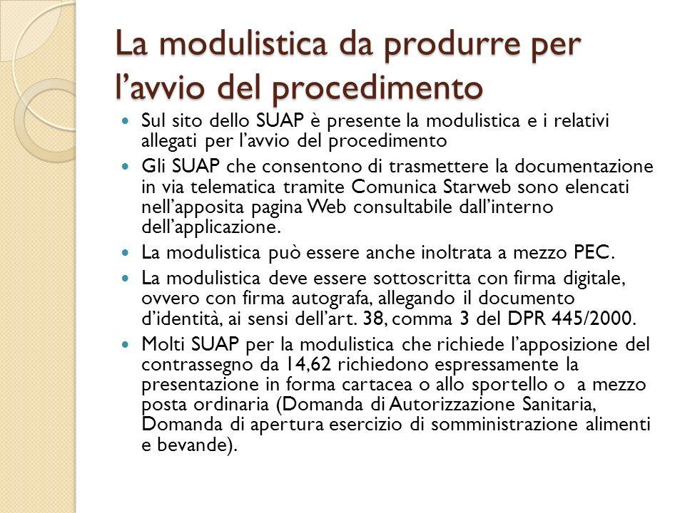 La modulistica da produrre per l'avvio del procedimento