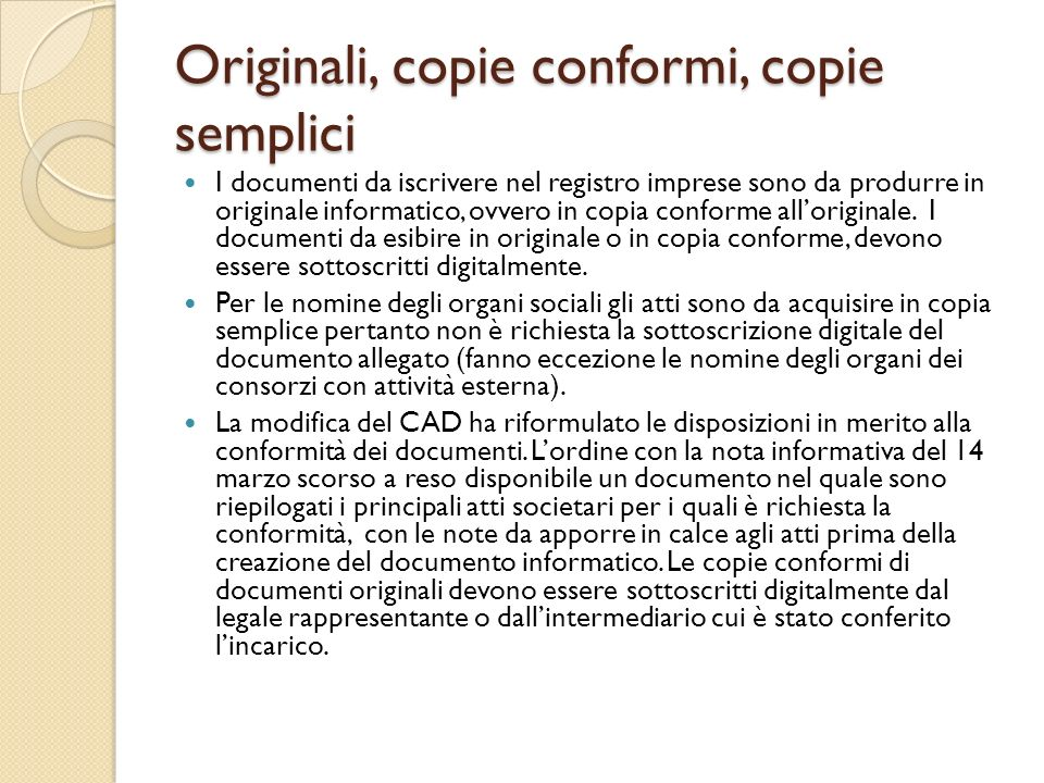 Originali, copie conformi, copie semplici