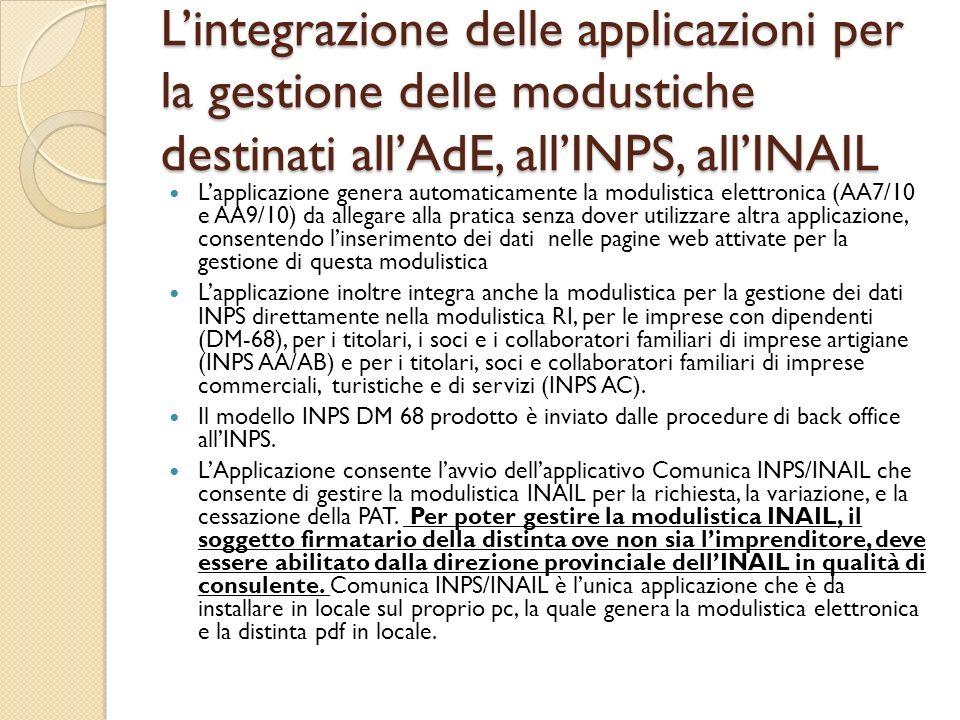 L'integrazione delle applicazioni per la gestione delle modustiche destinati all'AdE, all'INPS, all'INAIL