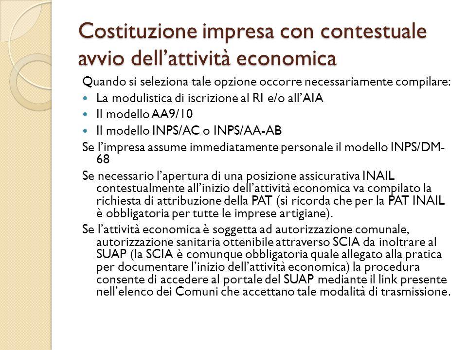 Costituzione impresa con contestuale avvio dell'attività economica