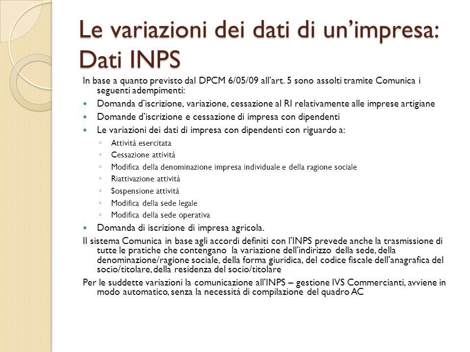Le variazioni dei dati di un'impresa: Dati INPS