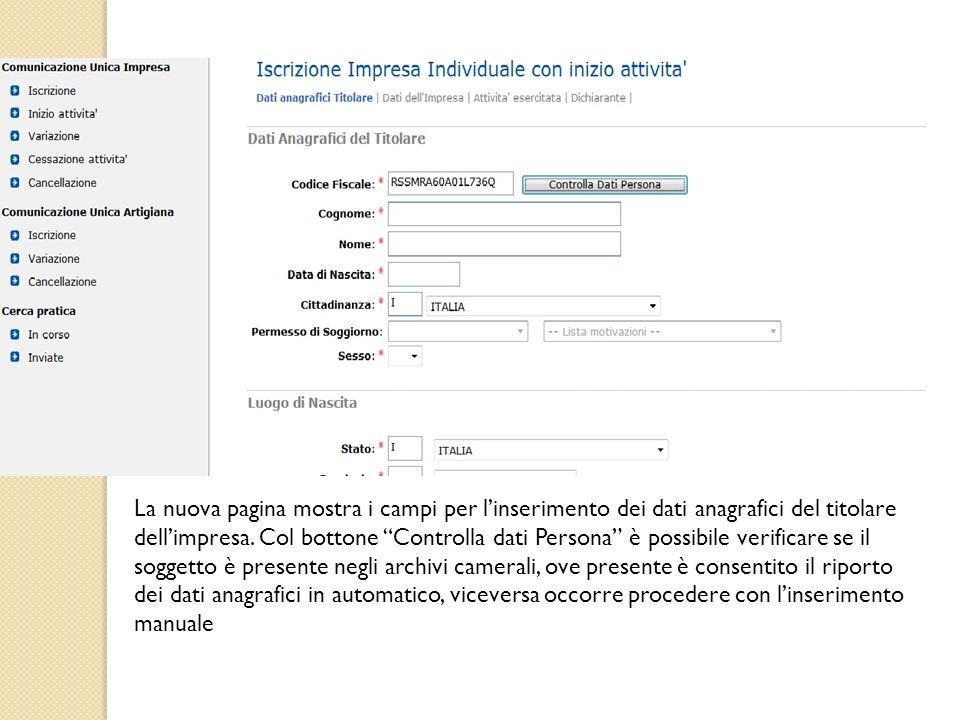 La nuova pagina mostra i campi per l'inserimento dei dati anagrafici del titolare dell'impresa.
