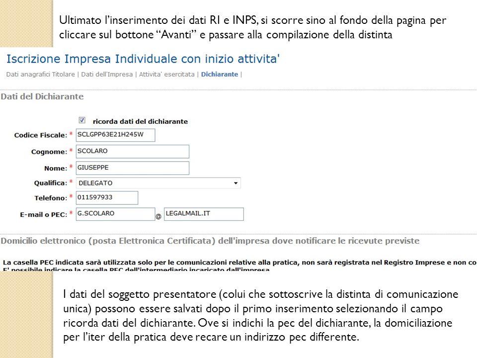 Ultimato l'inserimento dei dati RI e INPS, si scorre sino al fondo della pagina per cliccare sul bottone Avanti e passare alla compilazione della distinta