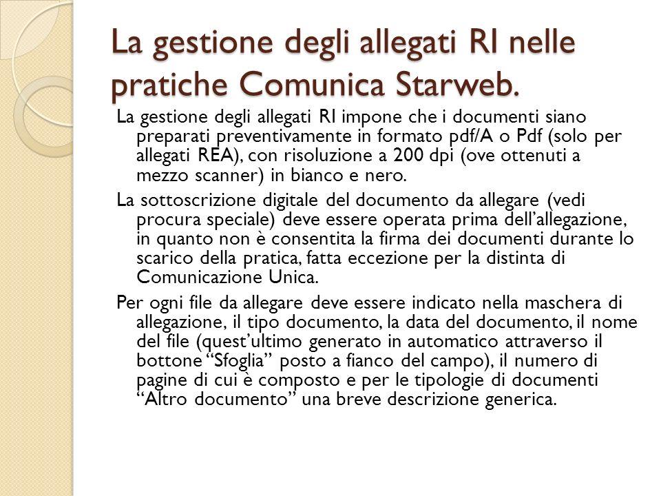 La gestione degli allegati RI nelle pratiche Comunica Starweb.