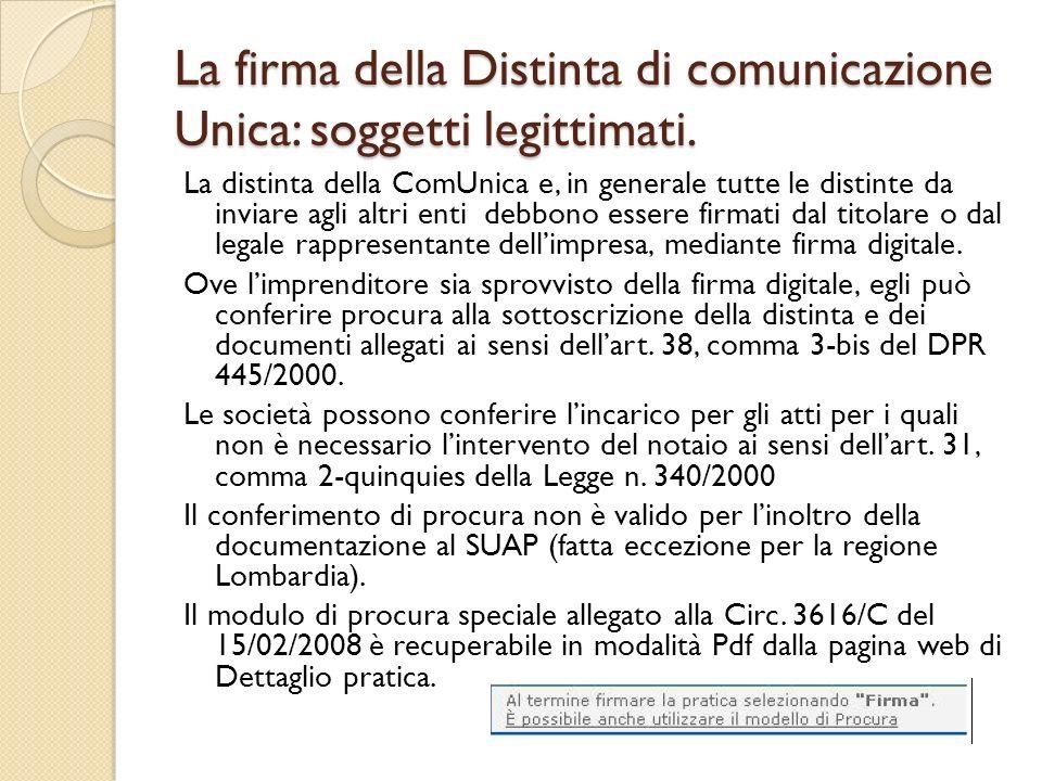 La firma della Distinta di comunicazione Unica: soggetti legittimati.