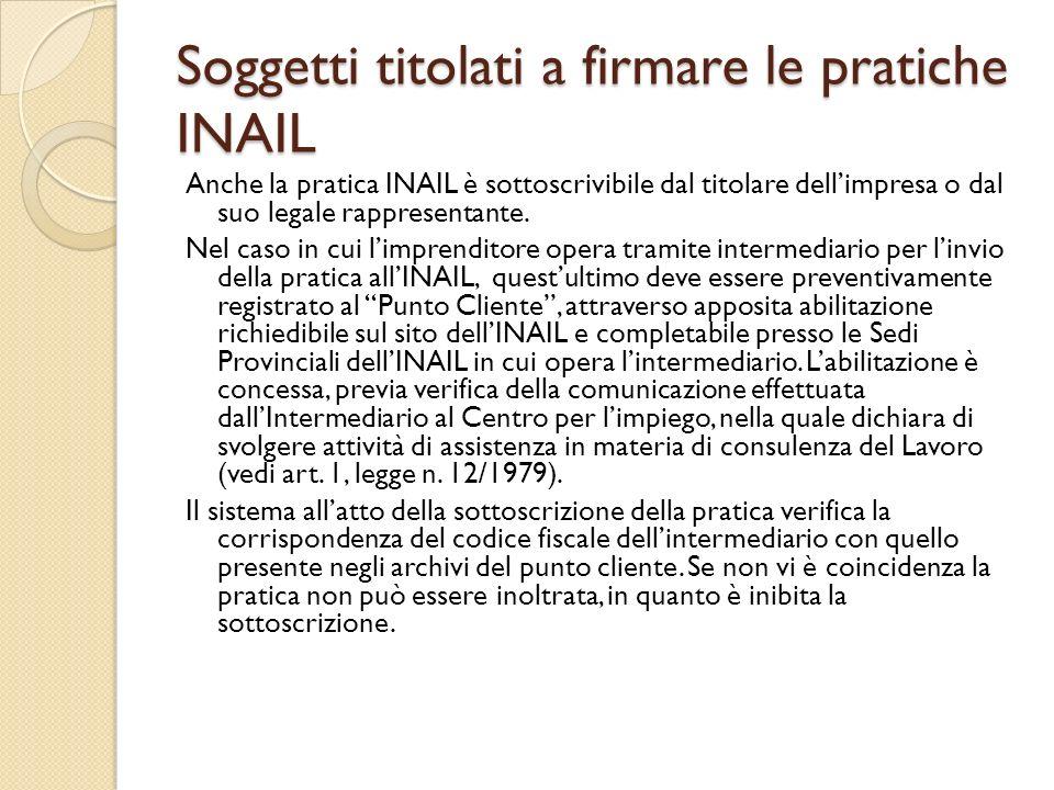 Soggetti titolati a firmare le pratiche INAIL