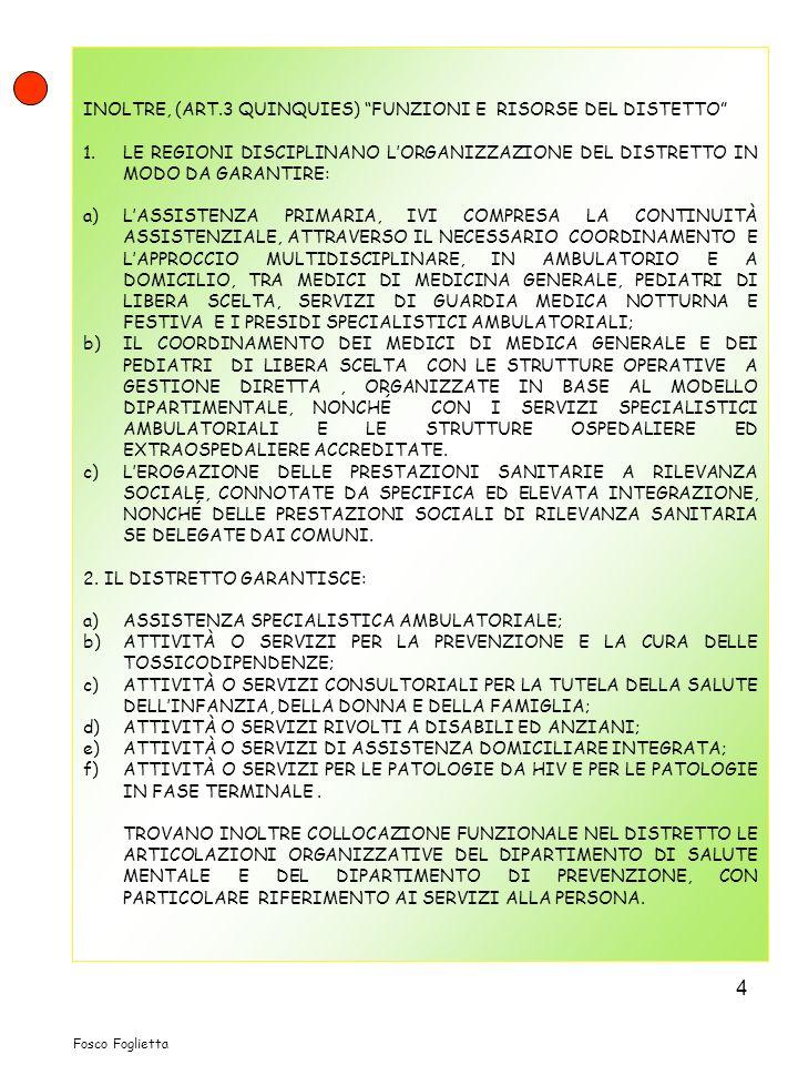 INOLTRE, (ART.3 QUINQUIES) FUNZIONI E RISORSE DEL DISTETTO