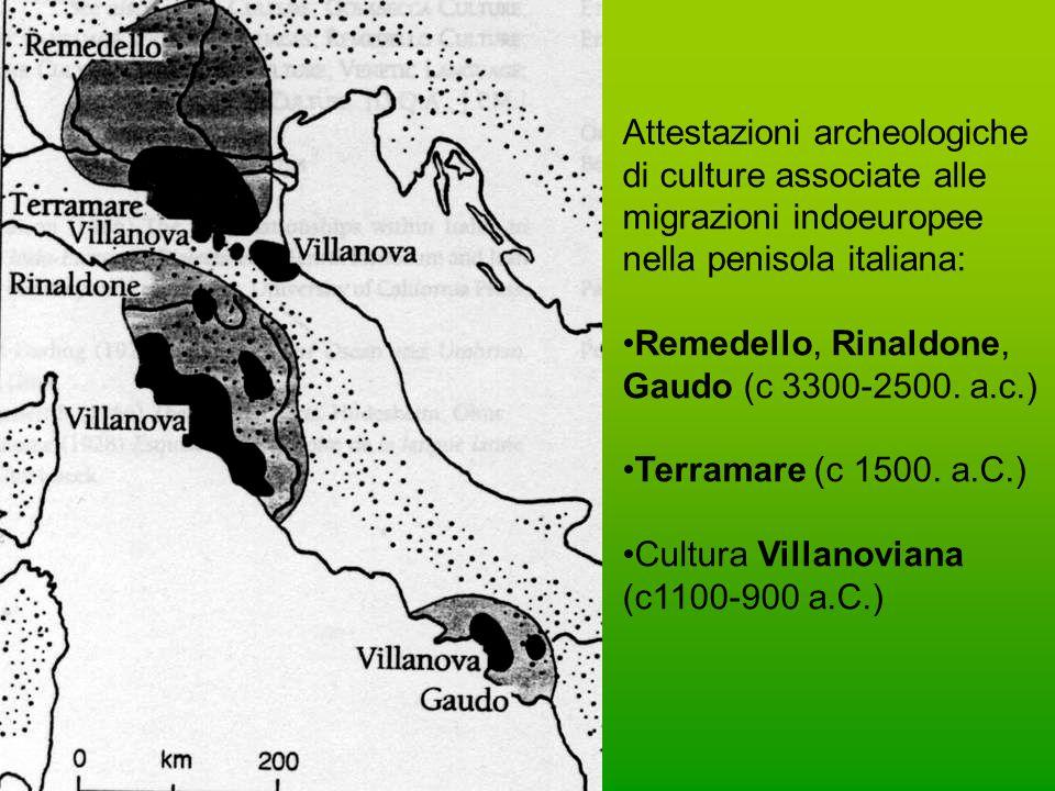 Attestazioni archeologiche di culture associate alle migrazioni indoeuropee nella penisola italiana: