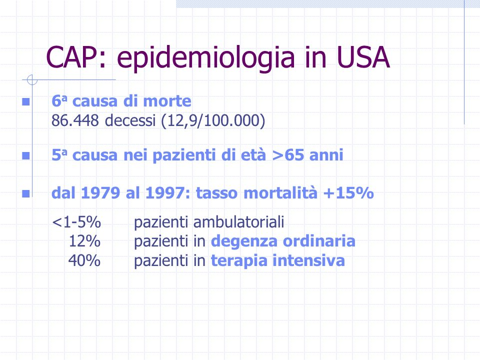 CAP: epidemiologia in USA