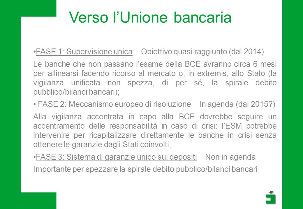 Verso l'Unione bancaria