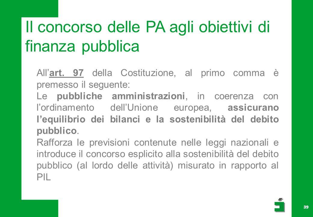 Il concorso delle PA agli obiettivi di finanza pubblica