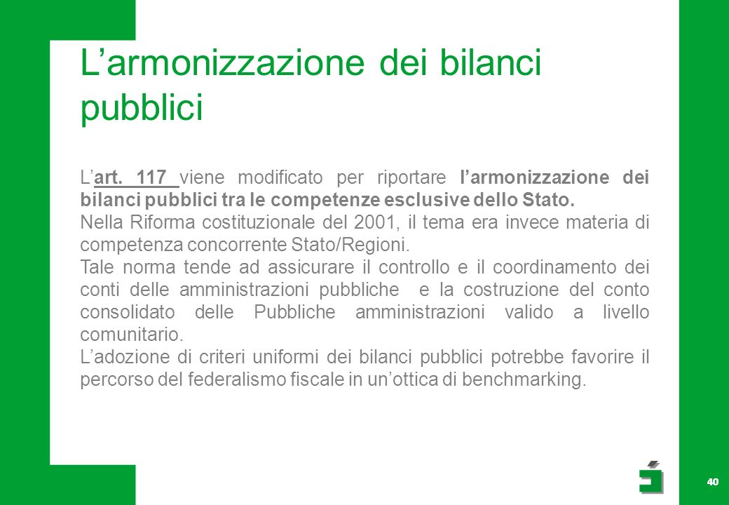 L'armonizzazione dei bilanci pubblici