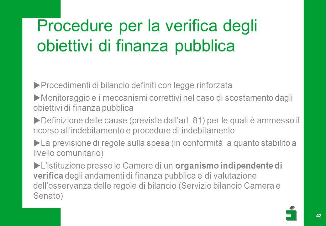 Procedure per la verifica degli obiettivi di finanza pubblica