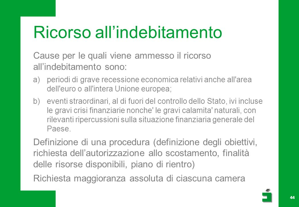 Ricorso all'indebitamento