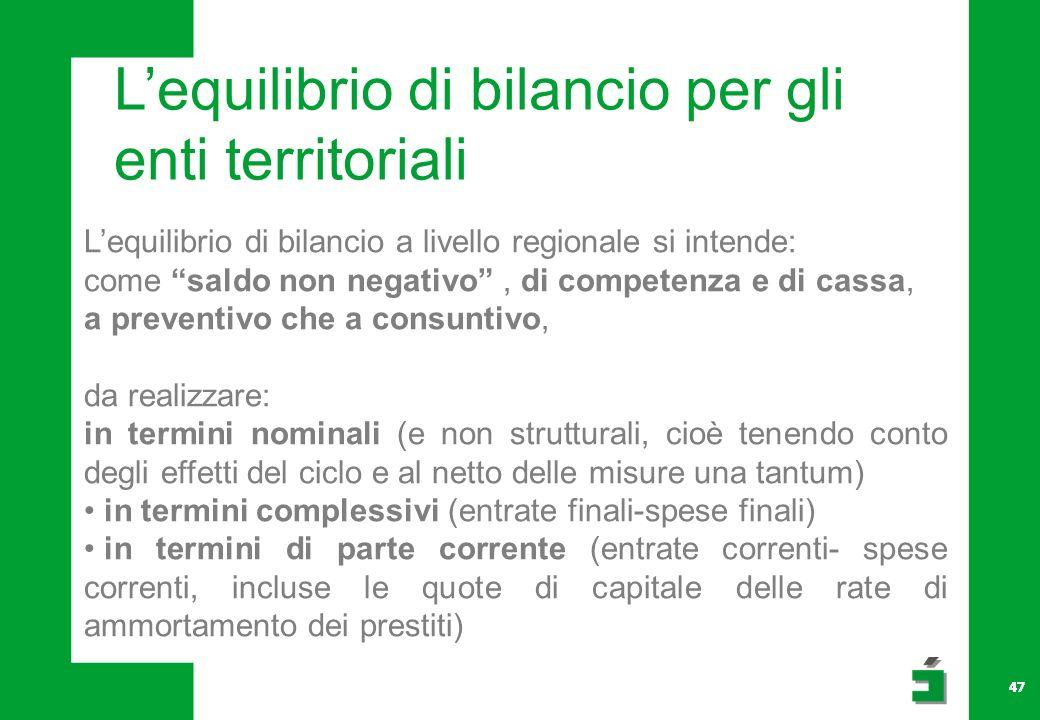 L'equilibrio di bilancio per gli enti territoriali