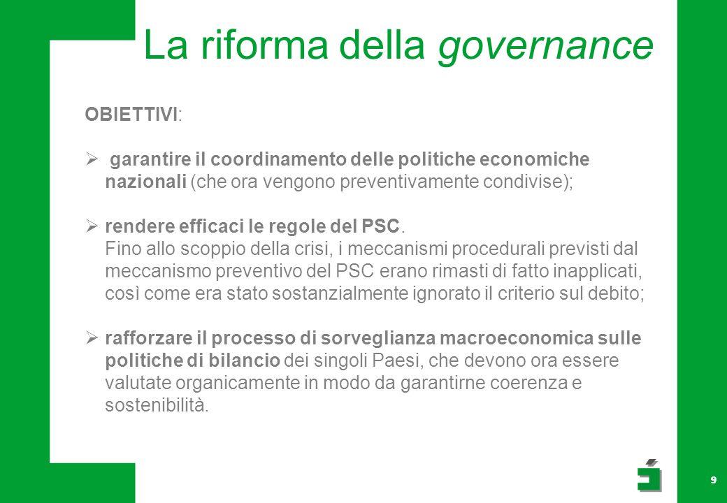 La riforma della governance