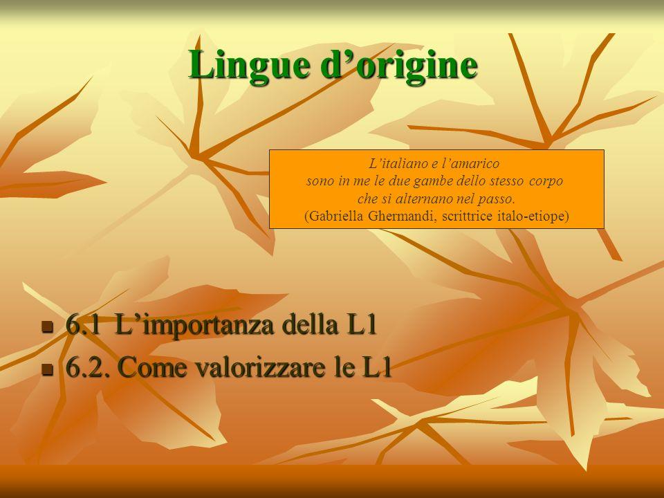 Lingue d'origine 6.1 L'importanza della L1 6.2. Come valorizzare le L1