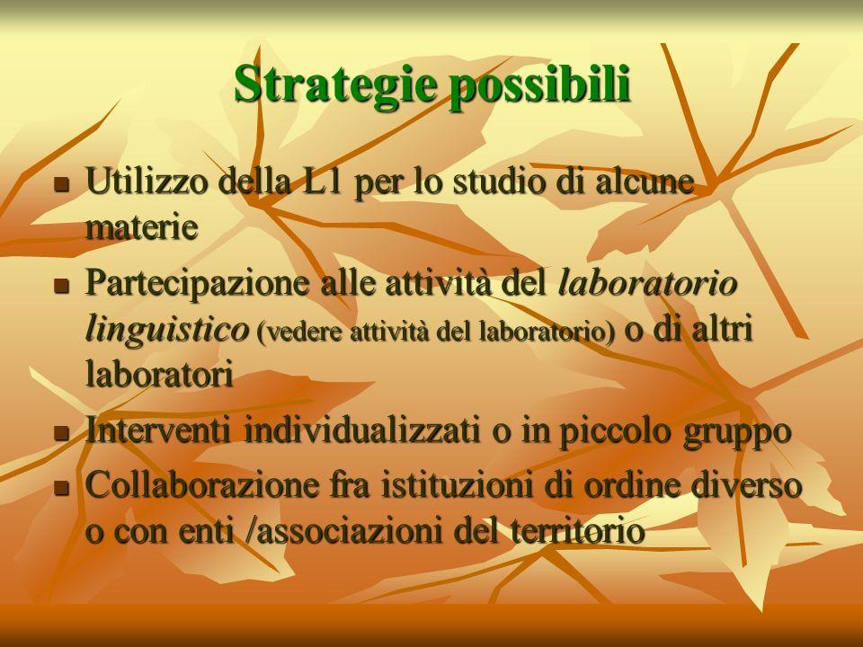 Strategie possibili Utilizzo della L1 per lo studio di alcune materie