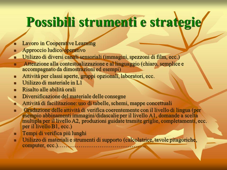 Possibili strumenti e strategie