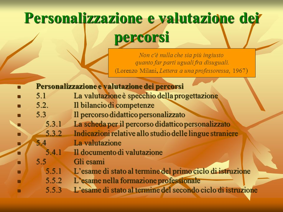 Personalizzazione e valutazione dei percorsi